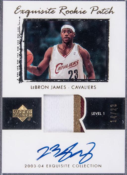 2003-04 Upper Deck Lebron James Exquisite Rookie Patch Autograph (card #78)