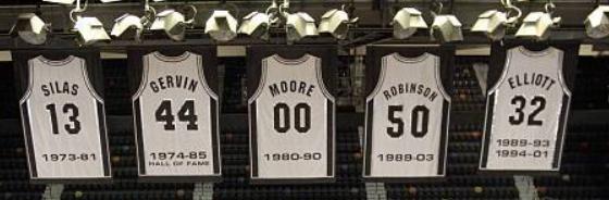 San Antonio Spurs retired jerseys, featuring Paul Silas, George Gervin, Johnny Moore, David Robinson, and Sean Elliott