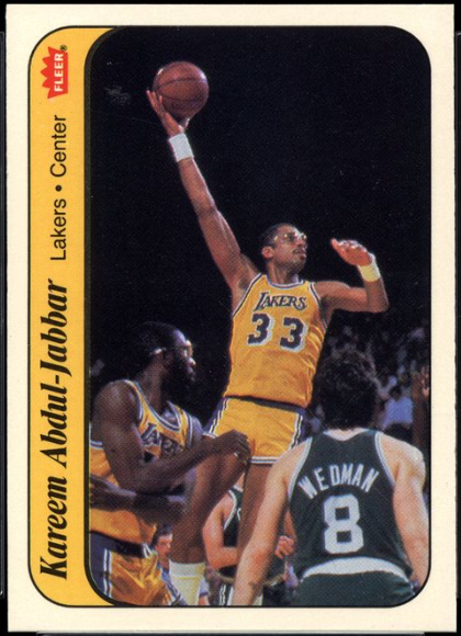 1986 Fleer Sticker #1 of Kareem Abdul-Jabbar