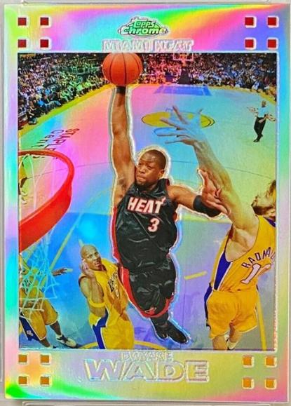 2007-08 Topps Chrome Dwyane Wade Refractor /999 (#3) - featuring Kobe Bryant in the bottom left corner