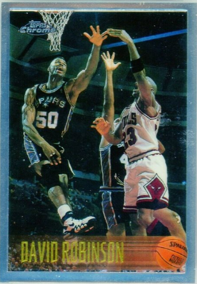 1996-97 Topps Chrome David Robinson (#80) featuring Michael Jordan in a white jersey