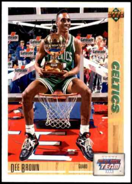 1991-92 Upper Deck #37: Dee Brown, holding the 1991 slam dunk trophy and sitting on the rim