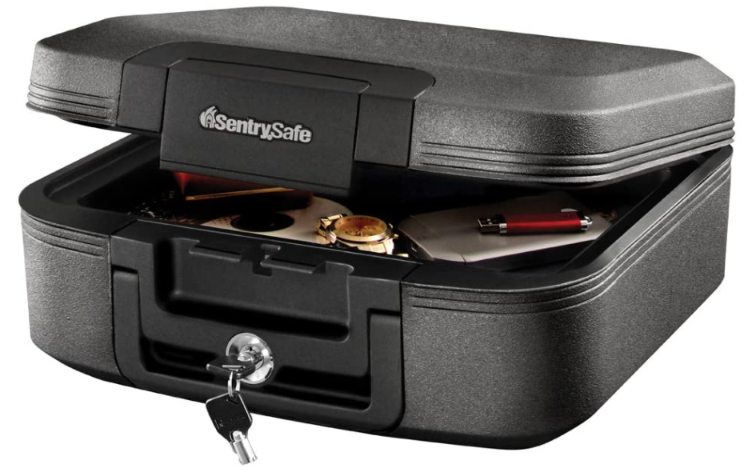 SentrySafe Fireproof Box and Waterproof Box with Key Lock (Charcoal Gray)