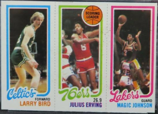 1980-81 Topps Scoring Leader: Larry Bird Rookie, Julius Erving, and Erving Magic Johnson Rookie Card