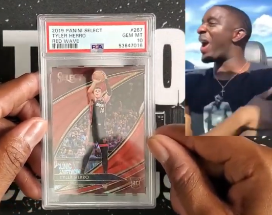 """Screen shot from PSA Reveal video - """"Gemmed it!"""" Tyler Herro Red Wave 2019 Panini Select"""