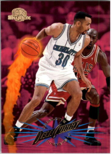 1995-96 Skybox Premium Dell Curry (#12) featuring Michael Jordan wearing #45 in the background