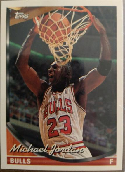 1993-94 Topps Michael Jordan #23 (Front) - Error labeling Jordan as a Forward, while he's always been a shooting guard.