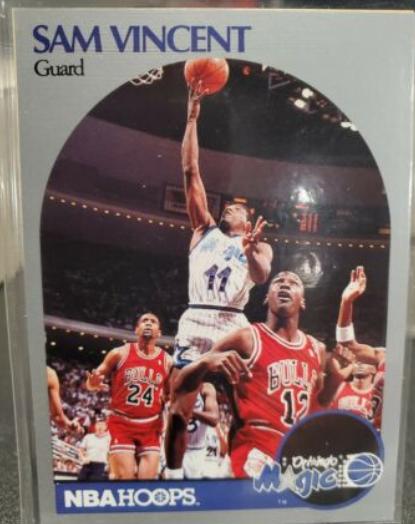 1990-91 NBA Hoops Sam Vincent (#223) and Michael Jordan wearing #12