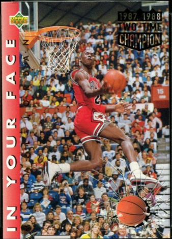 1992-93 Upper Deck In Your Face Michael Jordan (#453, correct card) with the years 1987 and 1988 in gold foil