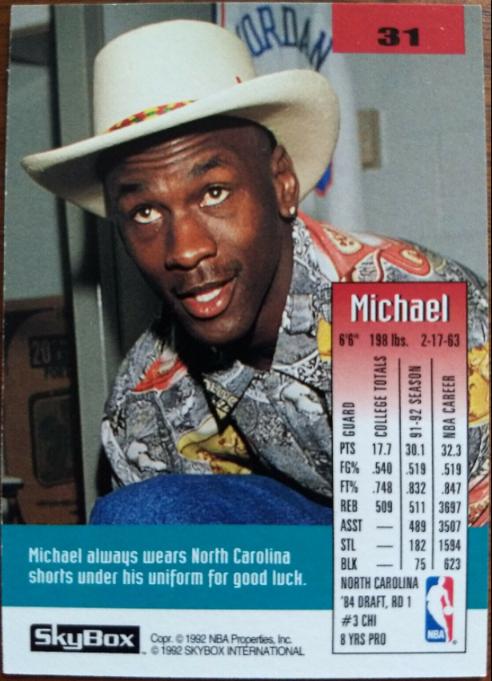 1992 Skybox Michael Jordan #31 (back)