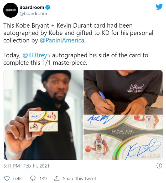 Boardroom tweet featuring Durant and Kobe autographed Immaculate Collection card