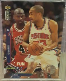 1995-96 Collectors Choice Player's Club Grant Hill #173; Michael Jordan cameo card